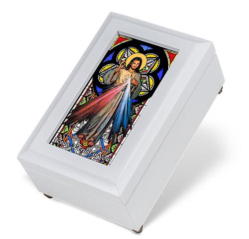 White Wood Divine Mercy Music Box
