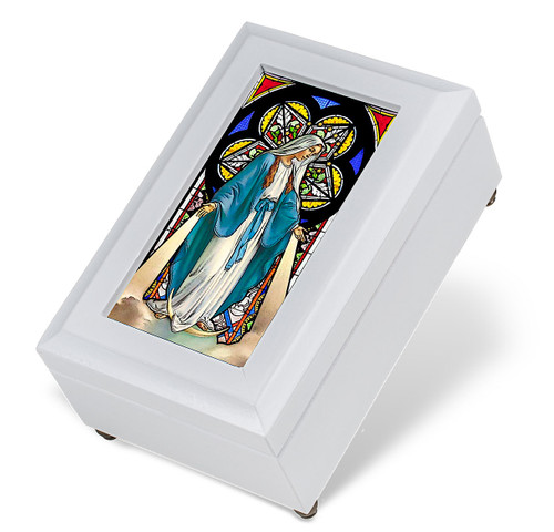 White Wood Our Lady of Grace Music Box