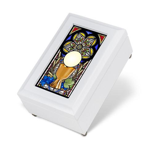 White Wood Communion Music Box