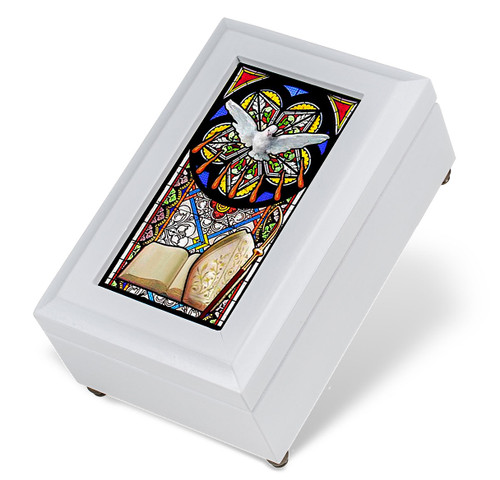 White Wood Confirmation Music Box