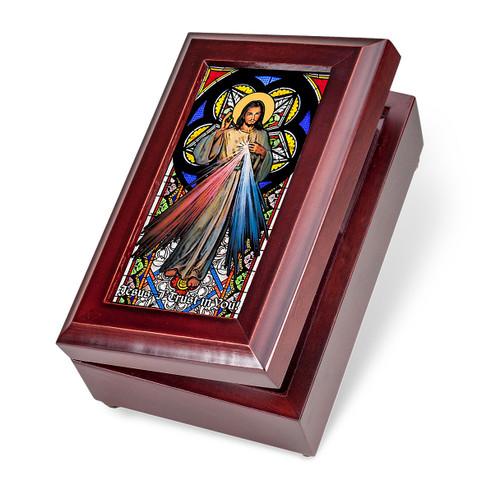 Mahogany Finish Wood Divine Mercy Music Box