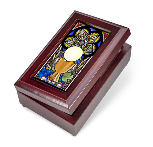 Mahogany Finish Wood Communion Music Box