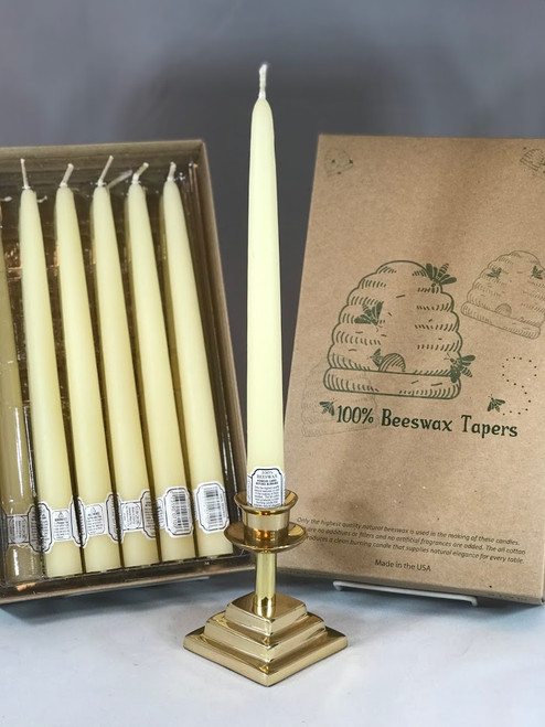 """100% Beeswax 10"""" Tapers   Box of 12"""