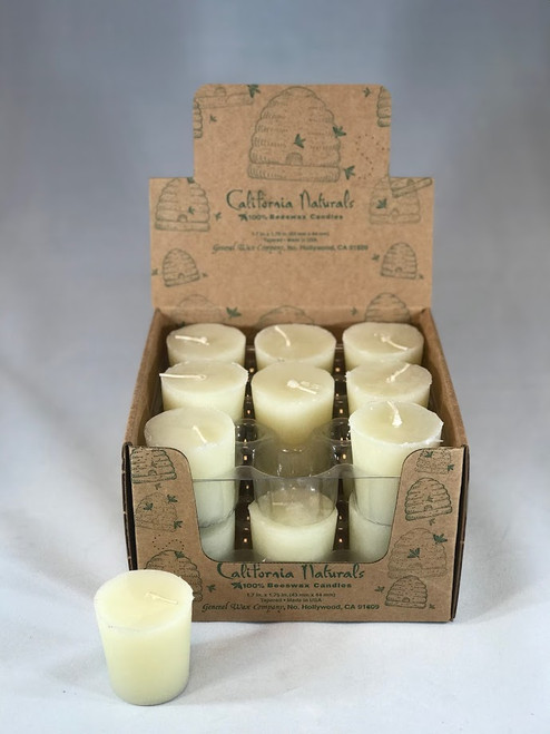 Single 100% Beeswax 15 hour Tapered Votive Candle