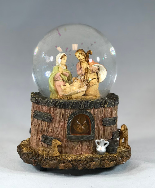 Holy Family Musical Nativity Glitterdome | O Holy Night | 5.5"