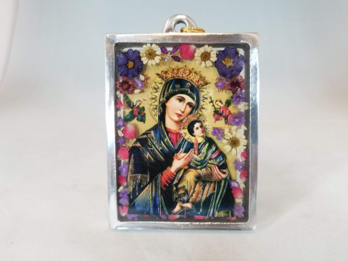 """4"""" Pressed Flower Our Lady of Perpetual Help Glass Plaque 