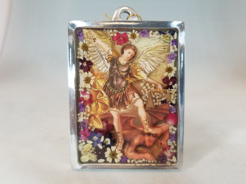 """4"""" Pressed Flower St. Michael Glass Plaque 