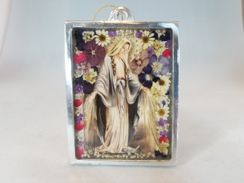 """4"""" Pressed Flower Our Lady of Grace Plaque 