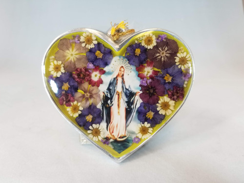 """4"""" Pressed Flower Our Lady of Grace Heart 
