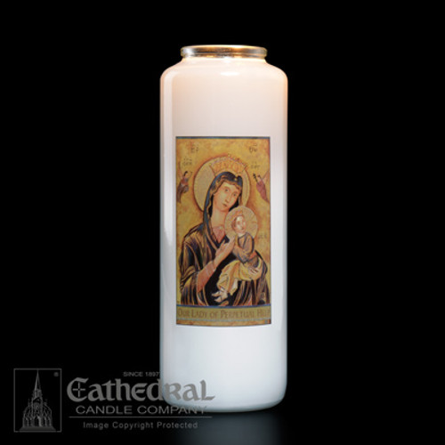 Single Our Lady of Perpetual Help 6-Day Glass Candles   One Candle