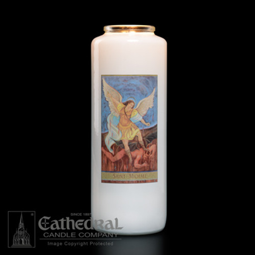 Single St. Michael 6-Day Glass Candles | One Candle