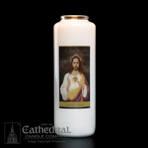 Single Sacred Heart 6-Day Glass Candles | One Candle
