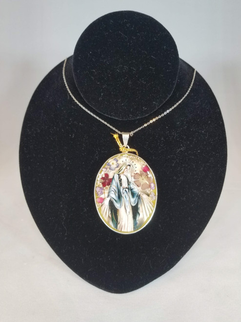 "2.5"" Pressed Flower Our Lady of Grace Pendant 