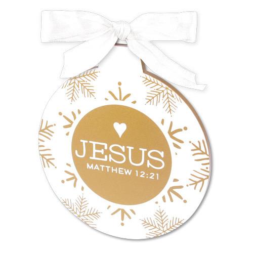 "5"" Gold & White Jesus Ornament | Matthew 12:21"