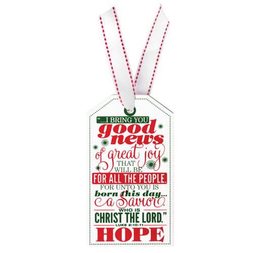 "5"" Hope Tag Ornament | Luke 2:10-11"