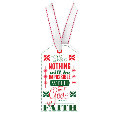 "5"" Faith Tag Ornament | Luke 1:37"