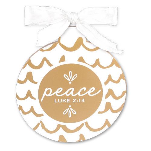 "5"" Gold & White Peace Ornament | Luke 2:14"