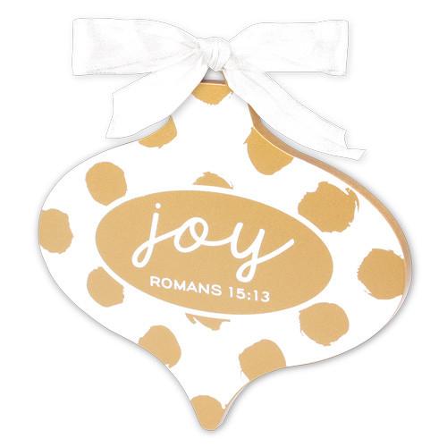 "5"" Gold & White Joy Ornament | Romans 15:13"