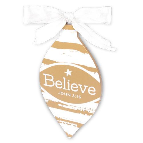 "5.5"" Gold & White Believe Ornament | John 3:16"