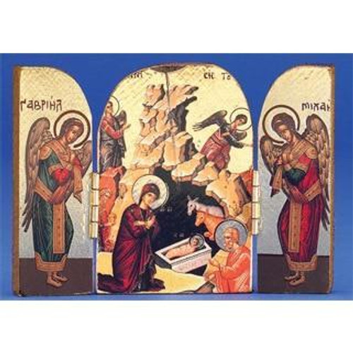 Gold Foil Nativity Triptych   Made in Greece