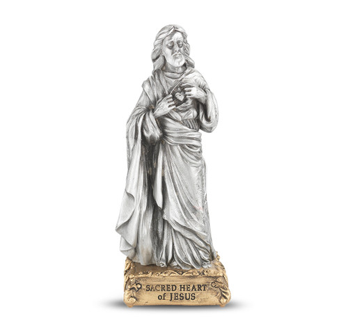 Sacred Heart of Jesus Pewter Statue