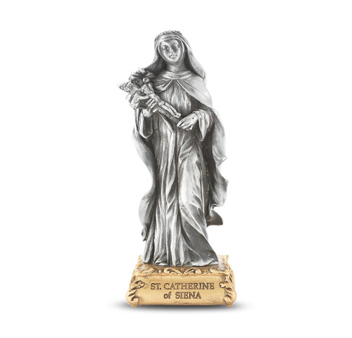 St. Catherine of Sienna Pewter Statue