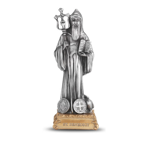 St. Benedict the Abbott Pewter Statue