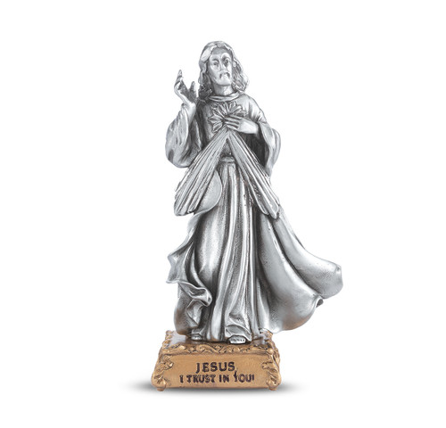 Divine Mercy of Jesus Pewter Statue