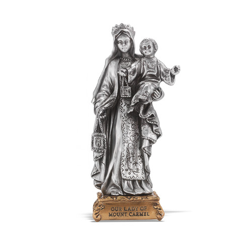 Our Lady of Mount Carmel Pewter Statue