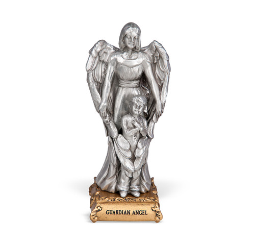 Guardian Angel with Boy Pewter Statue