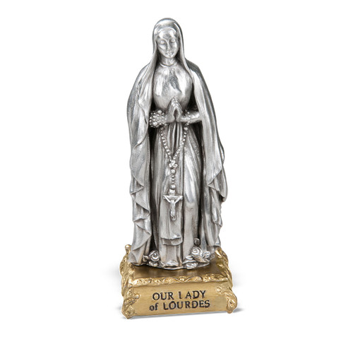 Our Lady of Lourdes Pewter Statue