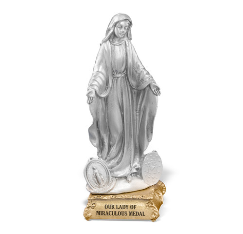 Our Lady of the Miraculous Medal Pewter Statue