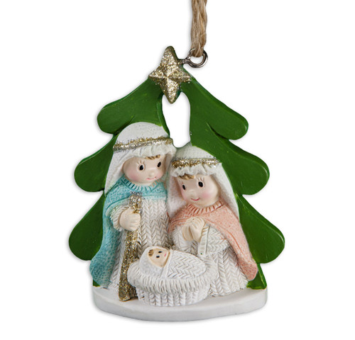 "2-1/2"" Yarn Holy Family Christmas Tree Ornament 