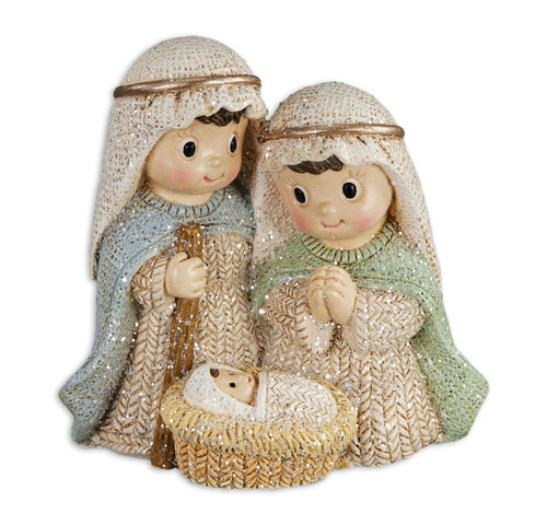 "2.75"" Yarn Holy Family Figure with Gold & Glitter Accents 