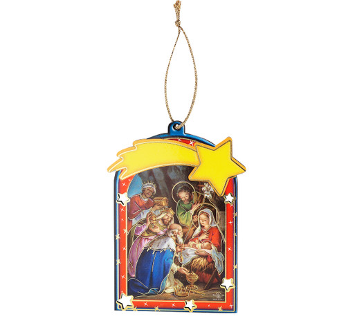 """4"""" Gold Foil Nativity Scene with Three Kings Christmas Ornament 