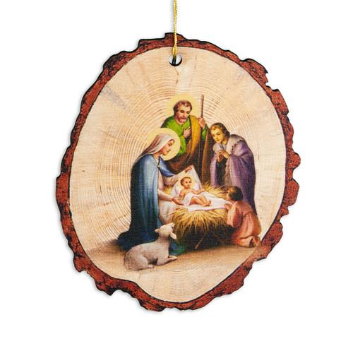 "3-3/4"" Faux Wood Log Holy Family Christmas Ornament"