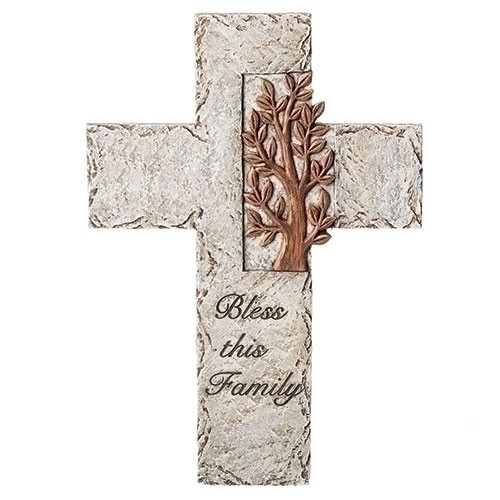 "10"" Tree of Life: Bless This Family Wall Cross 