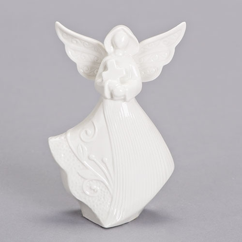 "5"" Glass Angel with Cross 