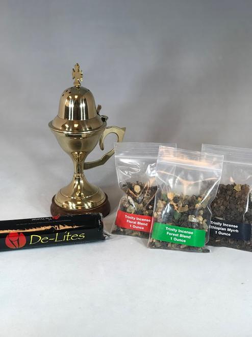 Home Devotion Starter Kit   Burner + Charcoal + Choice of Incense