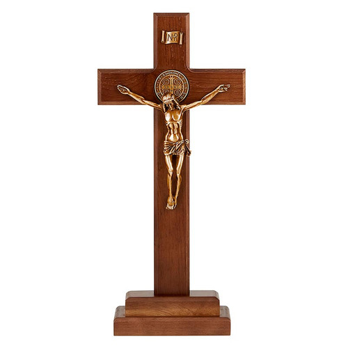 "13"" St. Benedict Standing Crucifix 