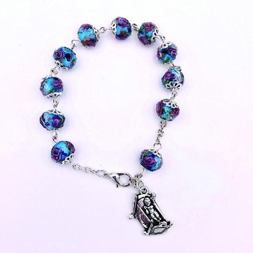 Christmas In July Blue Rose Bead Bracelet with Baby Jesus Charm | Made In Italy