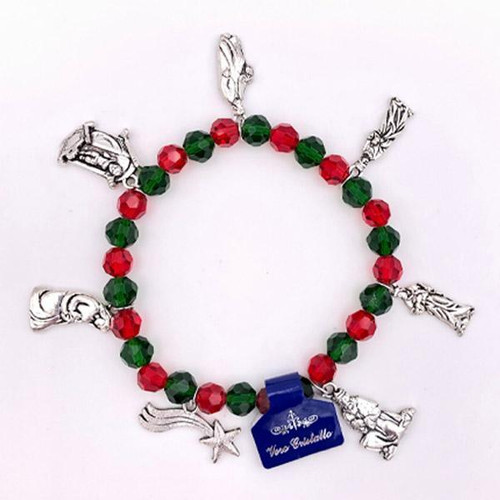 Christmas Charm Bracelet with Red & Green Beads | Made In Italy