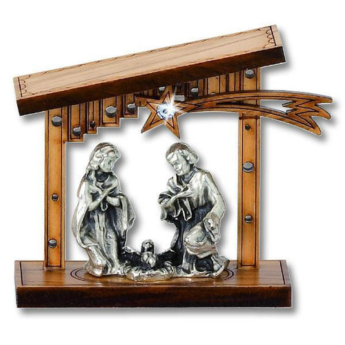 "2 3/8"" Olive Wood and Metal Nativity 