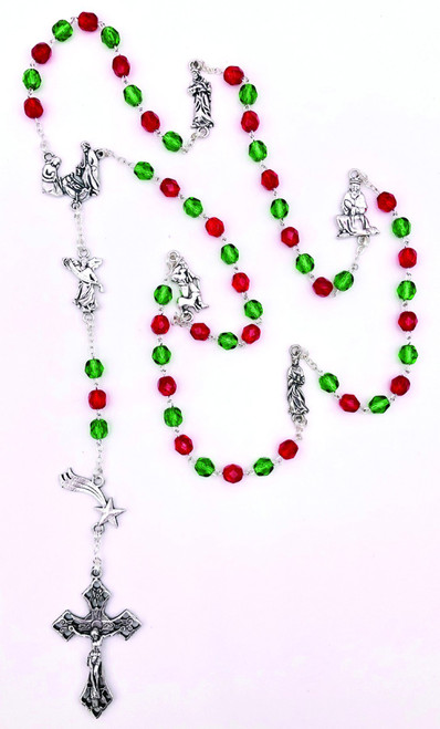 Red and Green Crystal Christmas Charm Rosary with Holy Family Center | Made in Italy
