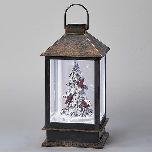 "15"" LED Snowblow Cardinals & Tree Christmas Lantern"