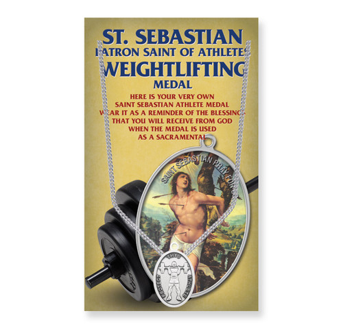 "Saint Sebastian Men's Oval Weightlifting Medal | 24"" Chain"