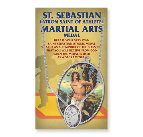 "Saint Sebastian Men's Oval Martial Arts Medal | 24"" Chain"