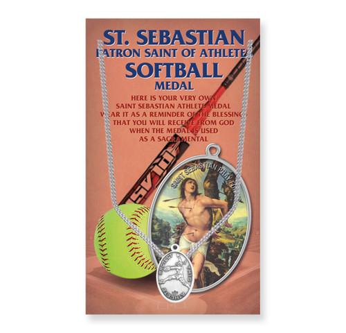 "Saint Sebastian Women's Oval Softball Medal | 18"" Chain"