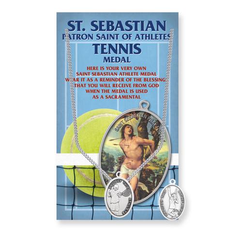 "Saint Sebastian Women's Oval Tennis Medal | 18"" Chain"