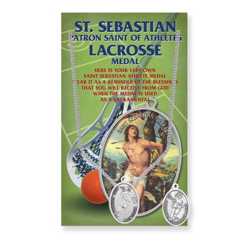 "Saint Sebastian Women's Oval Lacrosse Medal | 18"" Chain"